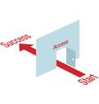 Arrow leading through door vector image