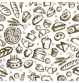 Bakery seamless pattern sketch background for vector image