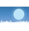 Silhouette of hills on snow scenery vector image
