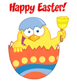 Easter Chick In An Orange Shell Ringing A Bell vector image vector image