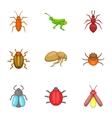 Bugs icons set cartoon style vector image