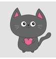 Gray contour cat holding pink heart Cute cartoon vector image
