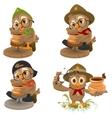 Set Owl Scout manufactures ceramic pot Potter vector image vector image