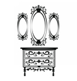 Vintage Baroque Imperial Dressing Table and Mirror vector image