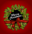 christmas background with bow fir branches and vector image vector image