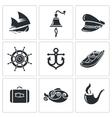 Sea Tourism Icons Set vector image