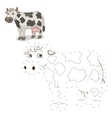 Connect the dots game cow vector image