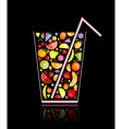 fruit juice glass vector image vector image