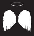 White Angel Wings and Halo Background vector image