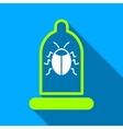 Bug Condom Protection Flat Long Shadow Square Icon vector image