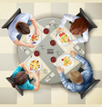 eating characters top view vector image