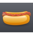 Realistic Hotdog Fast Food Icon Retro Cartoon vector image