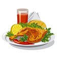 roasted chicken thigh vector image