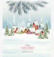 winter village night new year background vector image