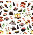 Japanese cuisine seafood sushi seamless pattern vector image