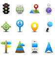 Location and map icons vector image