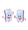 cartoon mobile phone characters smiling happily vector image