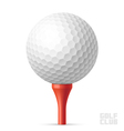 Golf ball on red tee vector image