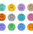 Different faces lineart collection vector image