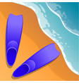 beach background flippers in the sand sea shore vector image