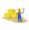 Black farmer man standing with pitchfork vector image