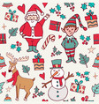 cute christmas winter santa doodle background vector image