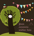 cute happy birthday card with tree and birds vector image