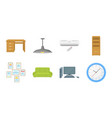 interior of the workplace icons in set collection vector image