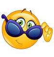 looking over sunglasses emoticon vector image