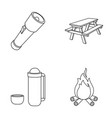 a flashlight a table with a bench a thermos with vector image