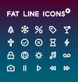 Fat Line Icons set 4 vector image vector image