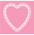 Valentine white lace like heart shape frame vector image