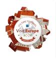 Visit Europe emblem with city landscape vector image vector image