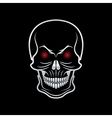 silver skull with red eyes on black background vector image