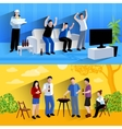 Friends buddies 2 flat banners composition vector image