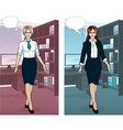Caucasian Businesswoman in office interior vector image