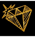 Hand drawn diamond isolated on black background vector image
