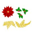Christmas decoration poinsettia holly and gold lea vector image