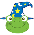 Frog Smiling Head With Wizard Hat vector image