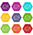 omg comic text speech bubble icon set color vector image