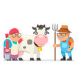 peasant milkmaid farmer granny grandfather adult vector image