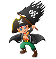 pirate holding pirate flag vector image