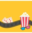 Popcorn Film strip border 3D glasses Tickets vector image