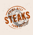 steak with vintage stamp vector image