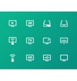 TV icons on green background vector image