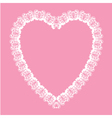 Valentine white lace like heart shape frame vector image