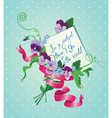 Vintage card flowers ribbon and old paper peace wi vector image