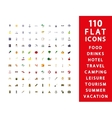 110 flat icons vector image