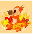 Squirrel Eats Nut vector image