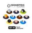 Isometric flat icons set 45 vector image